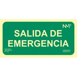 Cartel Señal 150X300Mm Luminiscente Pvc Salida Emergencia