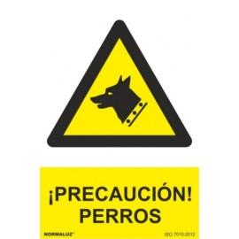 Cartel Señalizacion 210X300Mm Pvc ¡Precaucion! Perros