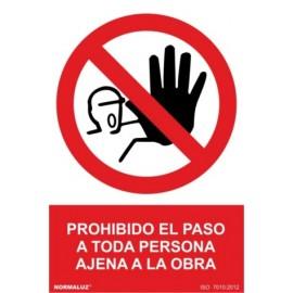 Cartel Señal 210X300Mm Pvc Prohibido El Paso Obra Normaluz