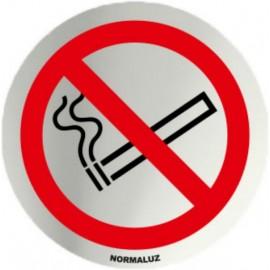 Placa Señal 7Cm  Autoadhesiva Inox Prohibido Fumar Normaluz
