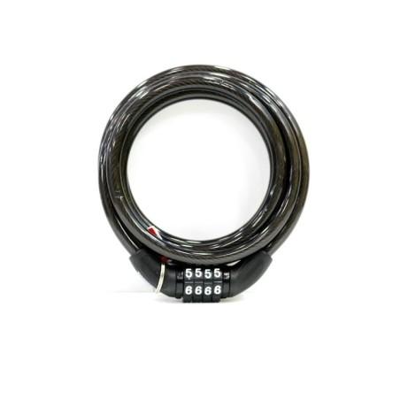 Candado Antirrobo Bicicleta 8X150Cm Cable Espiral Combinacion Nive