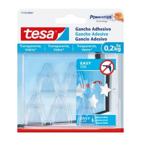 Colgador Hogar 0,2Kg Adhesivo Reutilizable Plastico Transparente Para Vidrio 5 Pz Tesatape