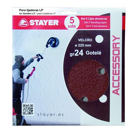 Disco Lija  Gotele Velcro 225Mm Para Lijadora Grano 24 Stayer 5 Pz