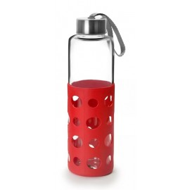 Botella Bebida Con Agarrador 550Ml Lake Rojo Cristal/Silicona