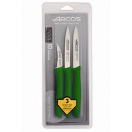 Cuchillo Cocina Mondador Mango Polipropileno  Nova Verde Inox Arcos 3 Pz