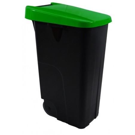 Contenedor Basura 85Lt Con Ruedas Denox Plastico Verde Eco Tapa