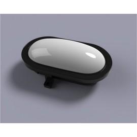 Aplique Iluminacion Ovalado Exterior 10W 4500K 750Lm Ip44 Polic Negro Estanco