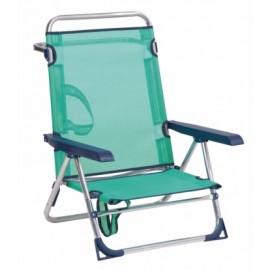 Silla Playa Cama Alco Aluminio Azul Con Asa