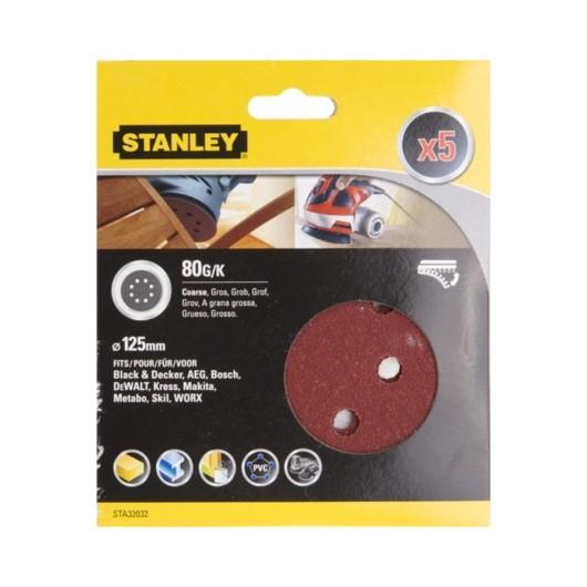 Disco Lija Roto Orbital Perforada 125Mm Gr80 Stanley 5 Pz