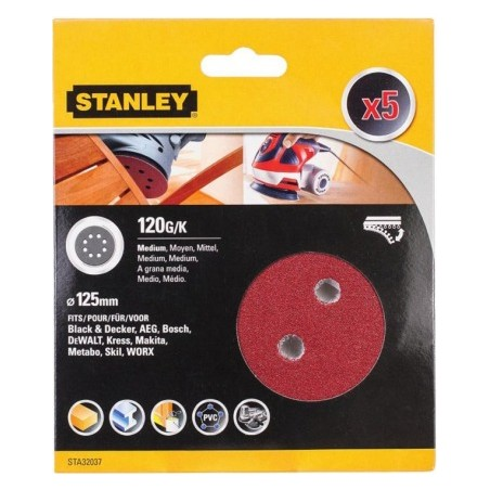 Disco Lija Roto Orbital Perforada 125Mm Gr120 Stanley 5 Pz