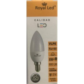Lampara Iluminacion Led Vela E14 6W 600Lm  4200K Royal Led