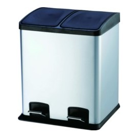 Cubo Basura Reciclaje 24Lt 40X39X47Cm C/Pedal 2 Compartimentos Inox
