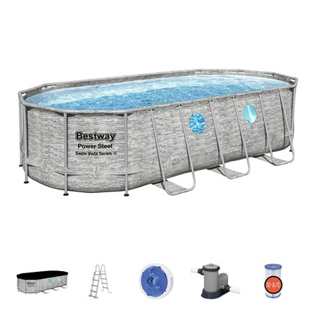 Piscina Pvc Ovalada 549X274X122Cm Cart Power Steel Vista Bestway