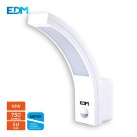 Aplique Iluminacion 10W 750Lm 6400K Ip54 Ext Edm Pl Bl Con Sensor