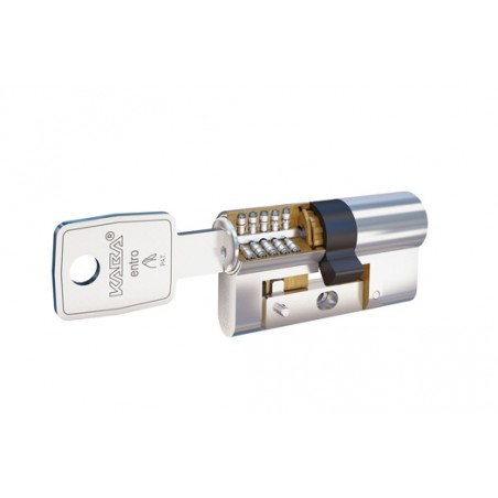 Cilindro de seguridad 30 x 30 en niquel leva larga con doble embrague y refuerzo LAM
