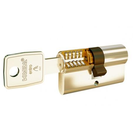 Cilindro de seguridad 30 x 40 en laton leva larga con doble embrague y refuerzo LAM.