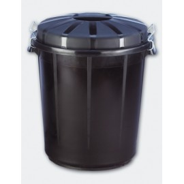 Cubo Industrial 70 Lt Denox Polipropileno Negro Con Tapa 13260