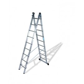 Escalera Industrial  Transformables 1,93/2,95Mt 6 Peldaños Doble Con Base Aluminio  Ktl