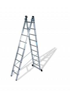 Escalera Industrial  Transformables 2,77/4,57Mt 9 Peldaños Doble Con Base Aluminio  Ktl