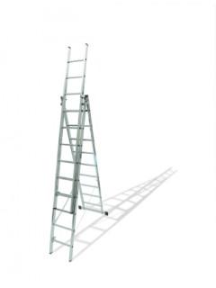 Escalera Industrial  Transformables 1,93/4,03Mt 6 Peldaños Triple Con Base Aluminio  Ktl