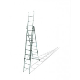 Escalera Industrial  Transformables 2,77/6,46Mt 9 Peldaños Triple Con Base Aluminio  Ktl