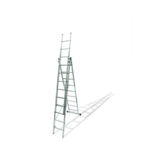 Escalera Industrial  Transformables 2,77/6,46Mt 9 Peldaños Triple Con Base Aluminio  Ktl