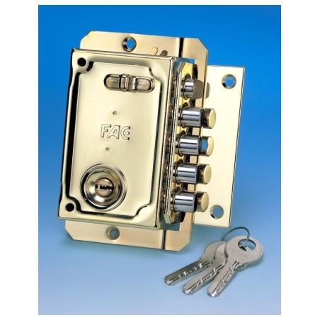 Cerradura Seguridad Sobreponer  144X90Mm 11024 Dorado Picaporte/4Pasadores Izquierda Fac