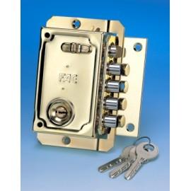 Cerradura Seguridad Sobreponer  144X90Mm 11023 Dorado Picaporte/4Pasadores Derecha Fac
