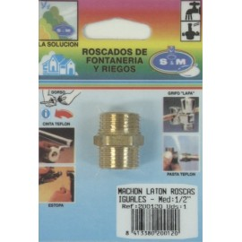 "Contrarrosca Fontaneria  Roscas Iguales M-M 1/2"" Laton  S M"