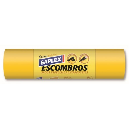 Saco Escombro 55X80Cm Pp Blanco Saplex 5 Pz