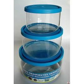 Hermetico Alimentos Redondo Con Tapa Microondas Cristal Tecnhogar 3 Pz