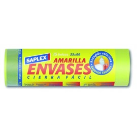 Bolsa Basura 55X60 Cm Envases Plastico Amarillo SaPlasticoex 15 Pz