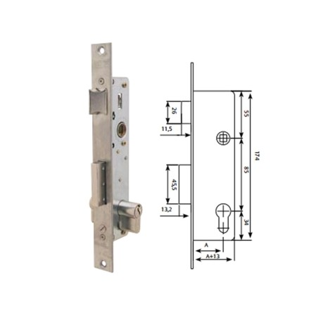 Cerradura Metalica Embutir 25X25Mm 221038Ssi Inox Picaporte/Palanca Deslizante Tesa