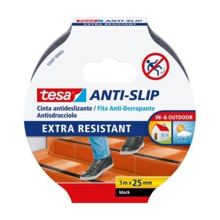 Cinta Antideslizante  25Mmx05Mt Adhesivo  Negro  Tesatape