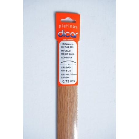 Pletina Perfilada 73X3,5Mm 1/2Caña Adhesivo Inox Roble