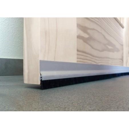 Burlete Bajo Puerta 125Cm Tornillos Flecos Aluminio Plata Burcasa