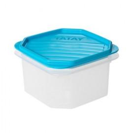 Hermetico Alimentos Cuadrado 0,6Lt Azul PlasticoTatay