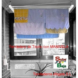 Tendedero Techo Manivela 180Cm Acero  Blanco Sube-Baja Efegete