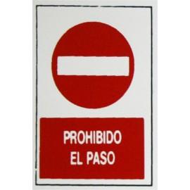 Placa Señal Adhesiva 300X200X1Mm Prohibido Paso Poliestileno