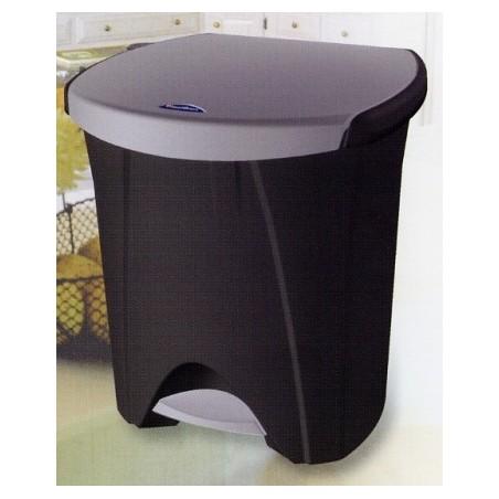 Cubo Basura  Reciclaje 30+18Lt Con Pedal 2Compartimentos  Plastico  Negro Ecologico Tes