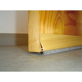 Burlete Bajo Puerta 094Cm Adhesivo Cepillo Aluminio Roble Burcasa
