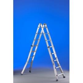 Escalera Industrial Multiusos Tijera 5,15Mt 10+10 Telescopica  Aluminio  Eplus Svelt