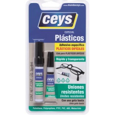 Adhesivo Instantaneo Plasticos Dificiles 3 Gr + 4 Ml Ceys