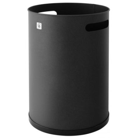 Papelera Residuos 37X25Cm Metal Negro Cilindro