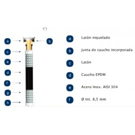 "Latiguillo Sanitario Mh 3/8-3/8""-30Cm 20B 110º  Inox"