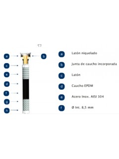 "Latiguillo Sanitario Mh 3/8-3/8""-50Cm 20B 110º  Inox"