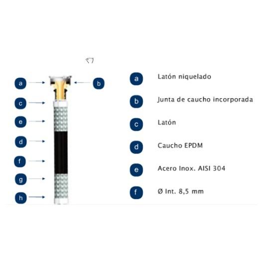 "Latiguillo Sanitario Hh 3/8-3/8""-15Cm 20B 110º  Inox"
