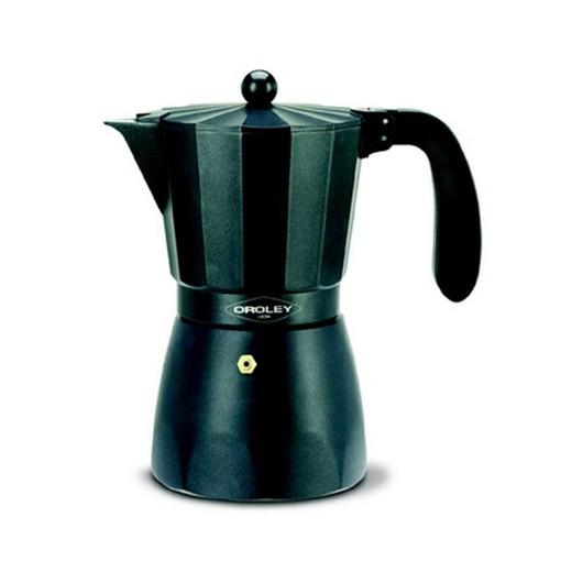 Cafetera Italiana 03Tazas Aluminio Negro Oroley
