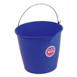 Cubo Agua 13 Lt 33X26Cm Sin Escurridor  Tes Plastico Azul Redondo Asa Metal 6313