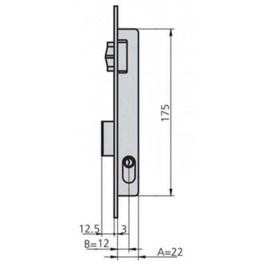 Cerradura Metalica Embutir 22X12Mm 1963V/5 Laton Rodillo/Palanca Cvl